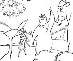 Boog and elliot say goodbye to other animals in open season coloring pages