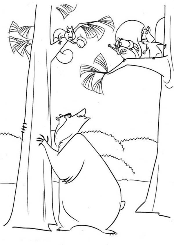 Boog Talking To Another Animal In Open Season Coloring Pages