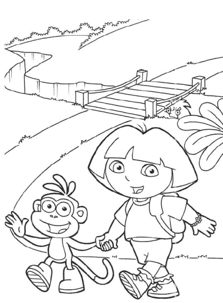 Boots And Dora Coloring Pages To Print