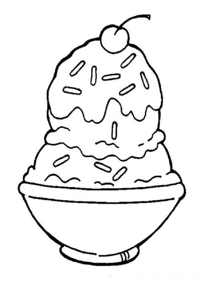 Bowl Of Ice Cream Coloring Pages