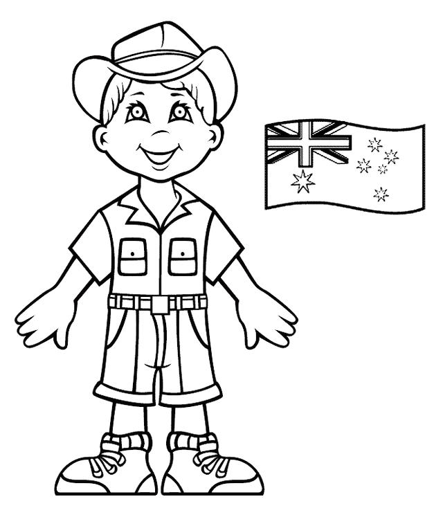 Boy And Australia Flag Coloring Pages