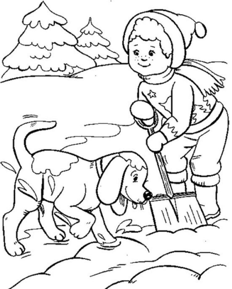 Boy And Dog Playing Snow Winter Coloring Pages For Kids