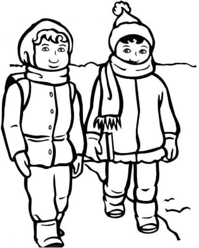 Boy And Girl With Winter Clothes Coloring Page