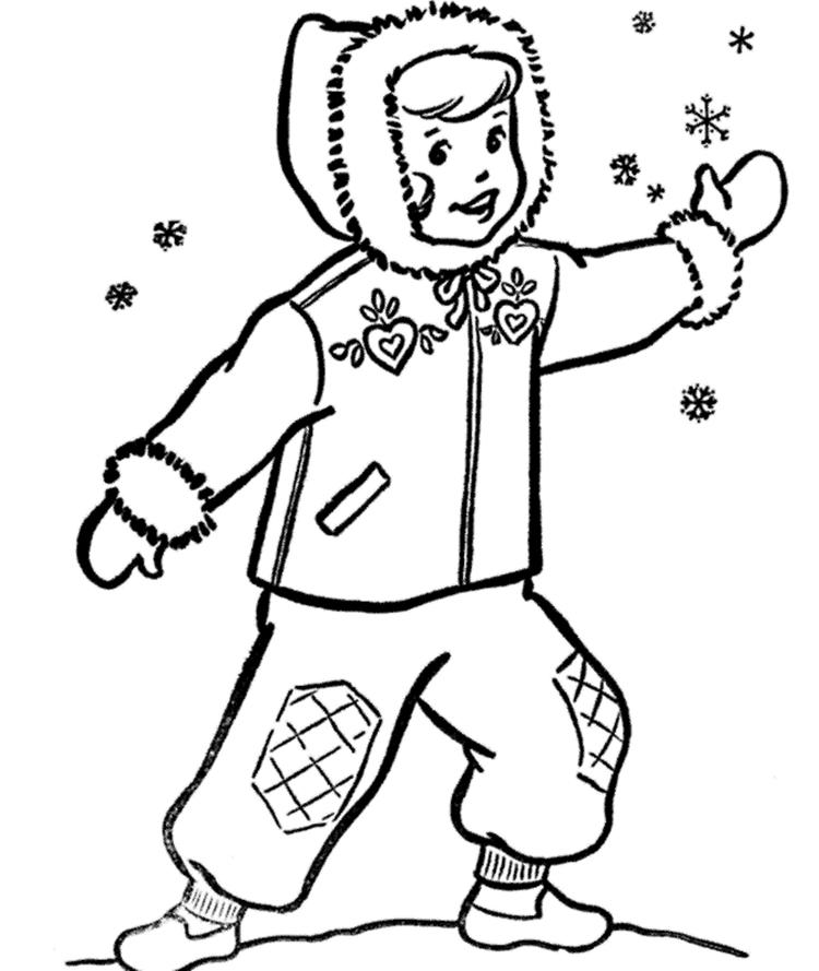 Boy And Snow Coloring Pages