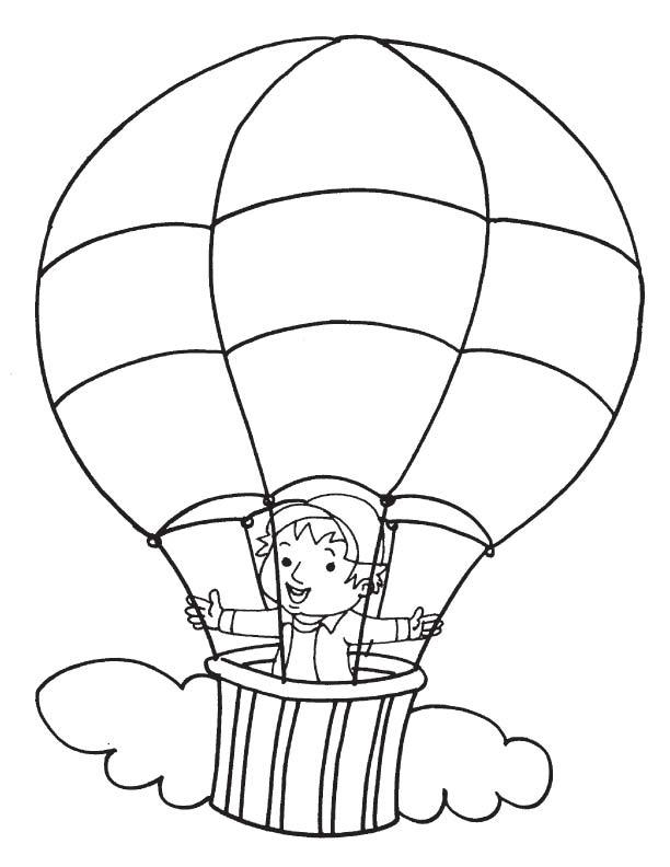 Boy In Hot Air Balloon Coloring Pages