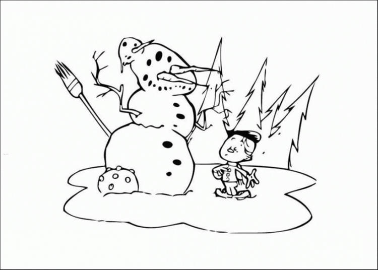 Boy Make Snowman Coloring Pages Winter