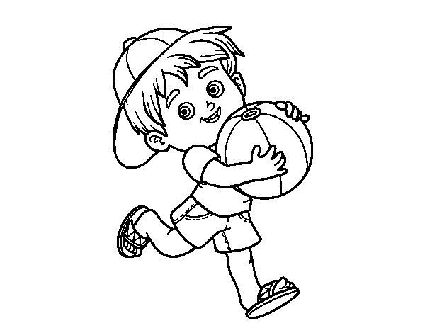 Boy Playing Beach Ball Coloring Pages