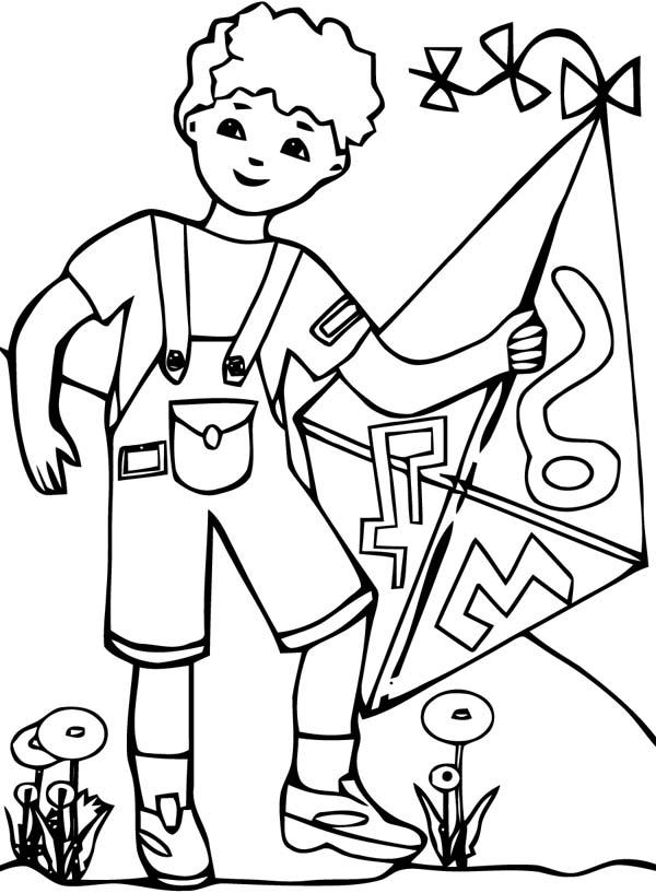 Boy Playing Kite Coloring Pages