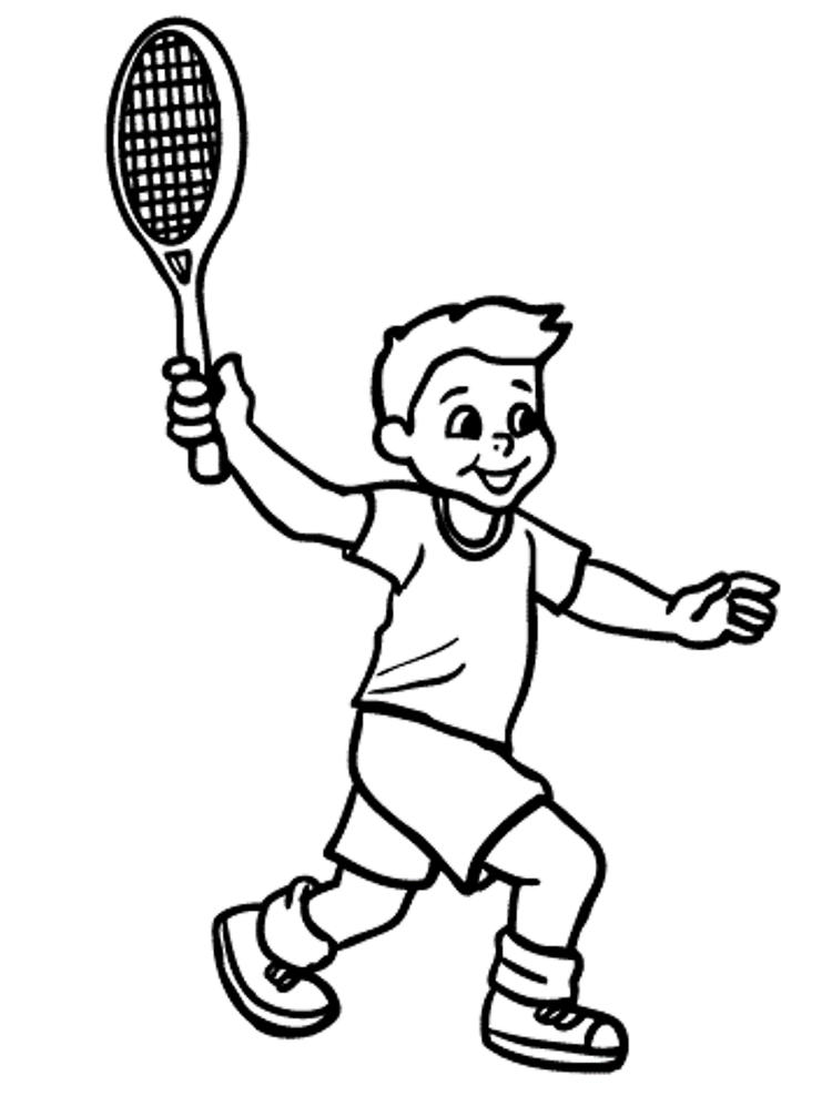 Boy Playing Tennis Coloring Pages