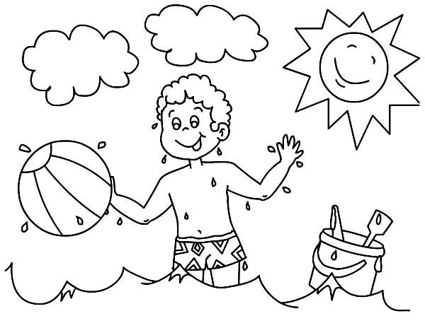 Boys With Beach Ball Coloring Pages