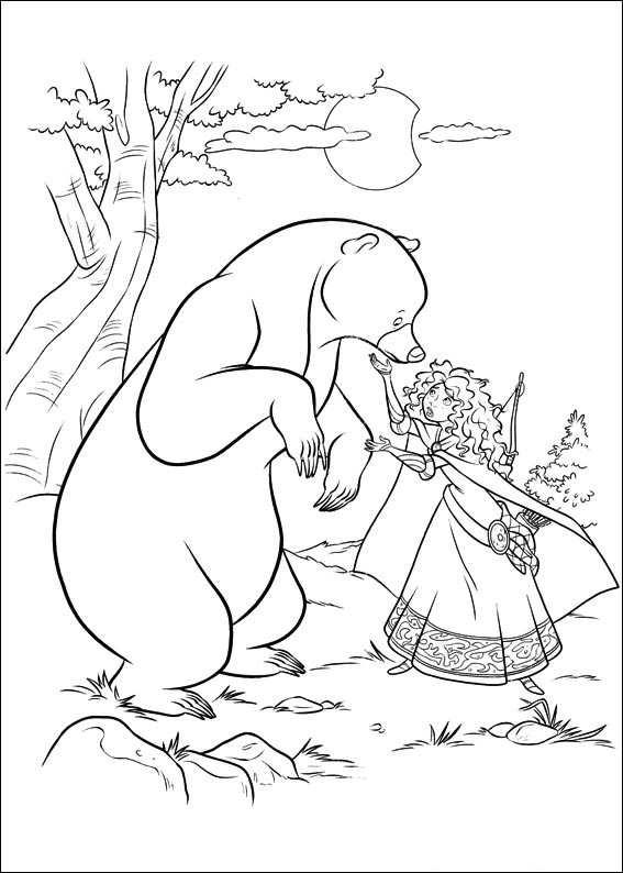 Brave Coloring Pages Bear And Merida
