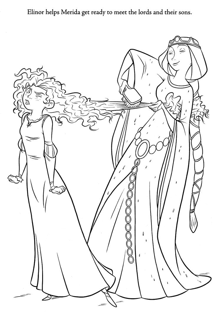 Brave Coloring Pages Merida And Queen Elinor