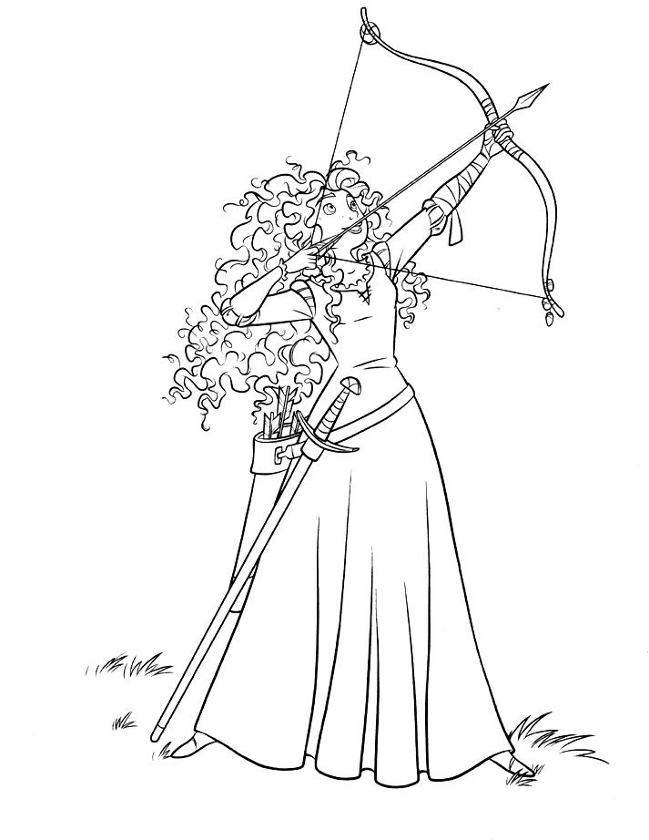 Brave Coloring Pages Merida Archery