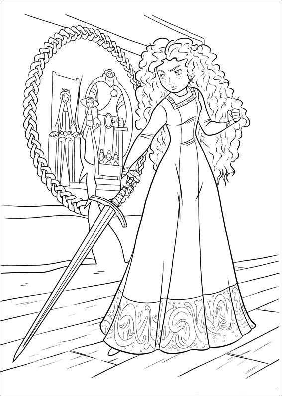 Brave Coloring Pages Merida With Sword