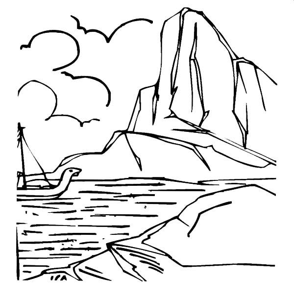 Brave Sailor Passing Iceberg Coloring Pages