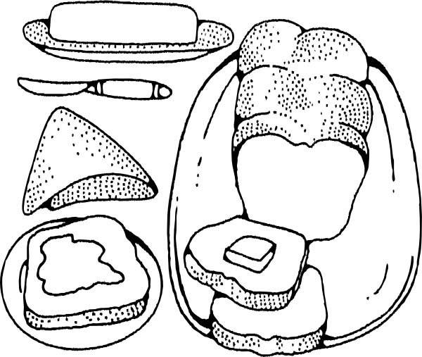 Bread Butter And Cheese In Bakery Coloring Pages