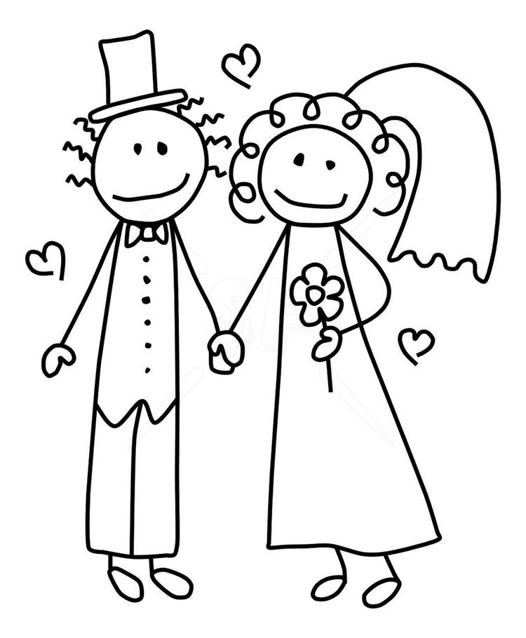 Bride And Groom In Sacred Moment Coloring Picture