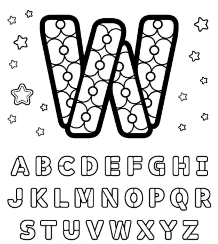 Build W Free Alphabet Coloring Pages