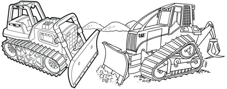 Bulldozer Cat Coloring Page For Kids