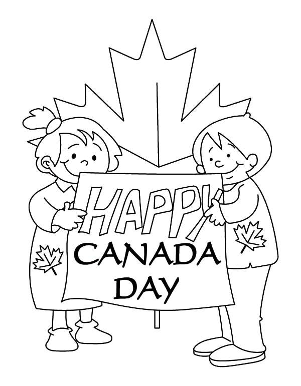 Bunch Of Kids Making Sign For Canada Day Coloring Pages