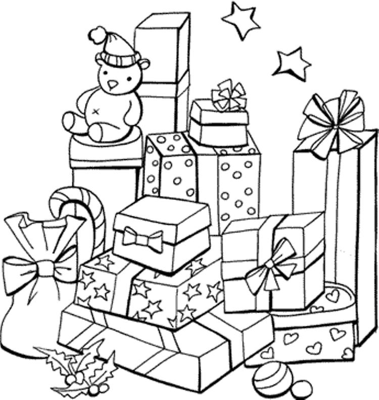 Bunch Of Presents Christmas Coloring Pages For Kids
