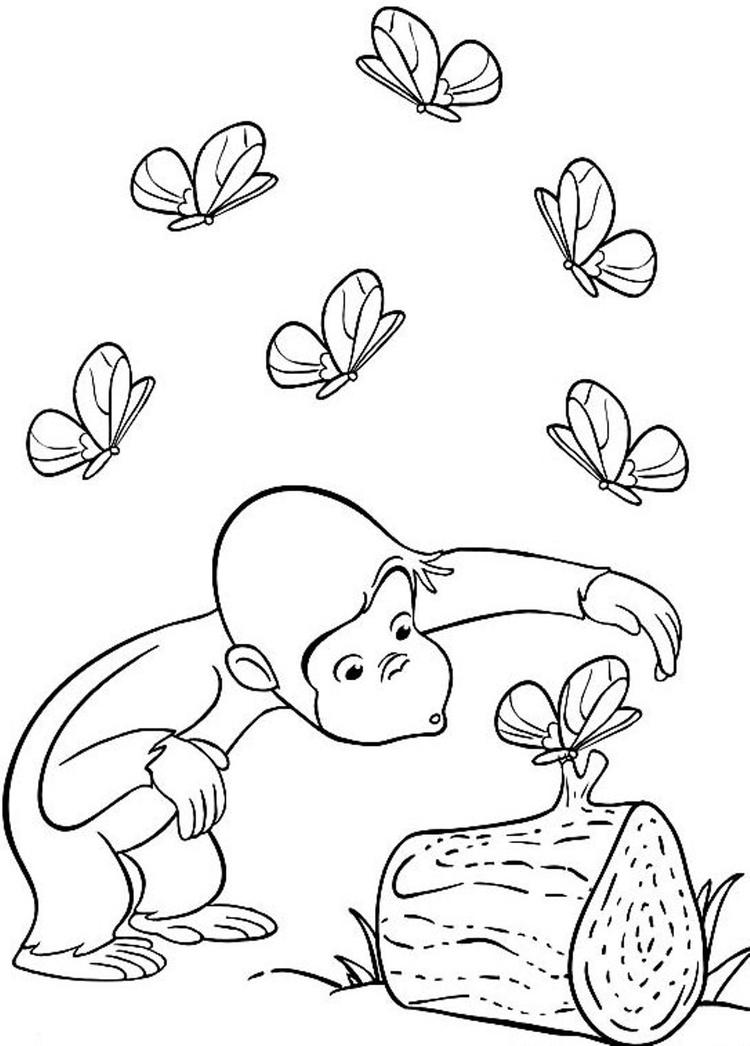 Butterflies And Curious George Coloring Pages