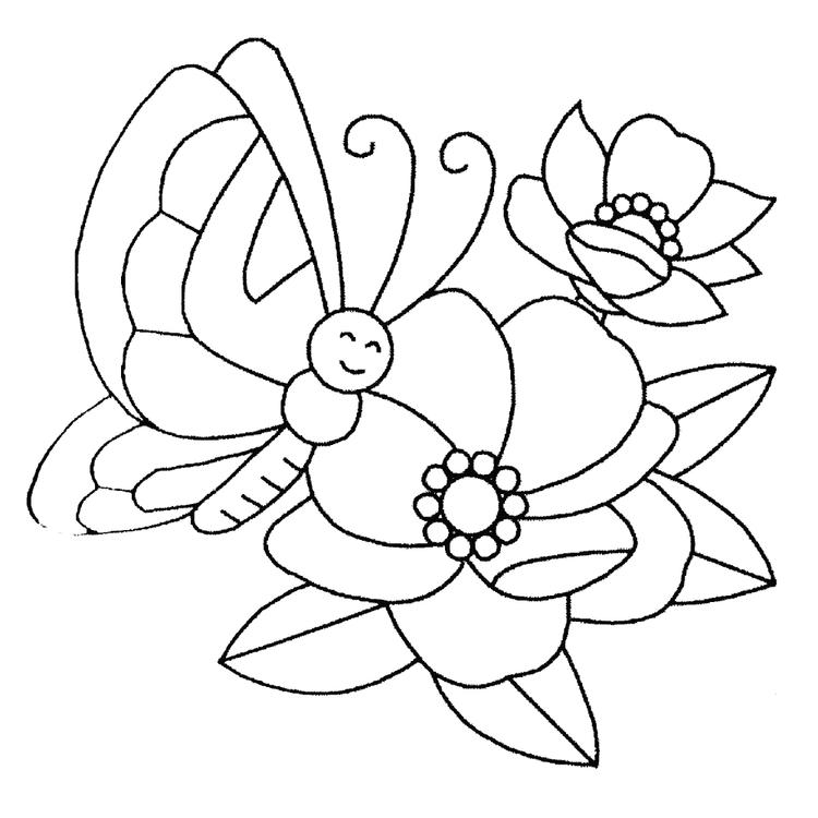 Butterfly And Flower Coloring Pages For Preschool