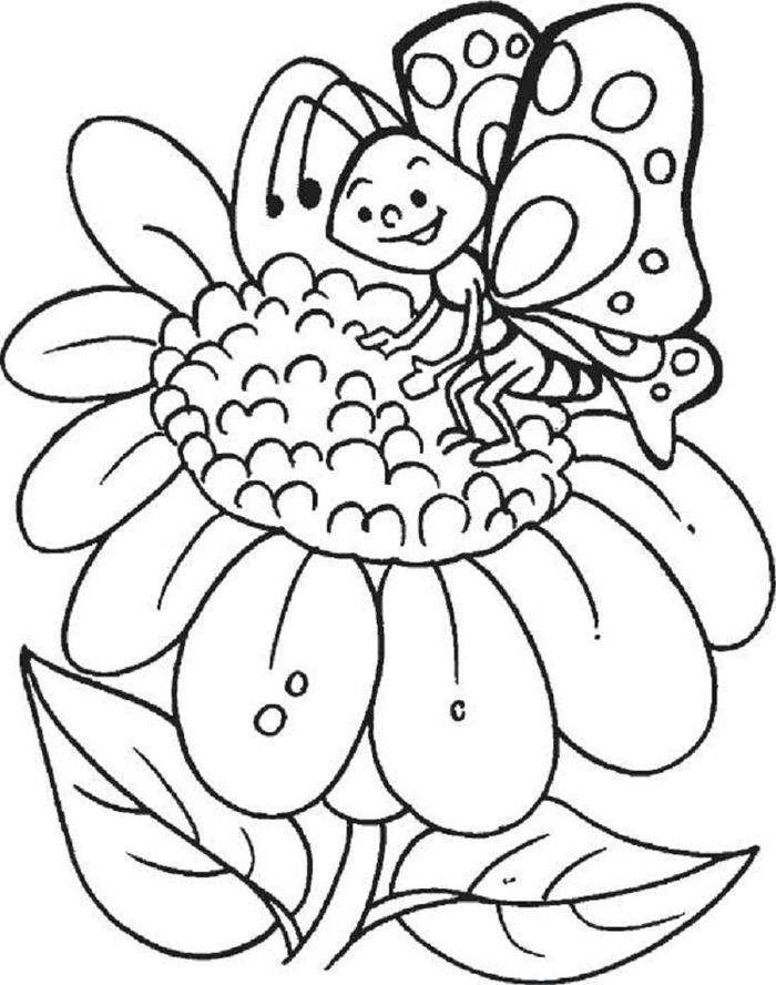 Butterfly And Sunflower Coloring Pages