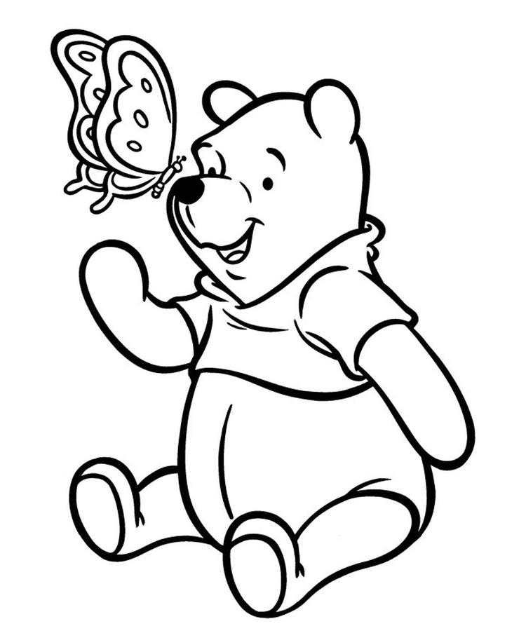 Butterfly And Winnie The Pooh Coloring Pages