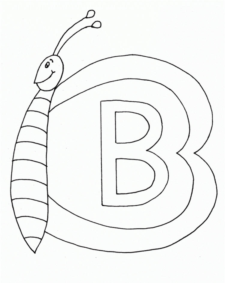 Butterfly B Alphabet Coloring Pages
