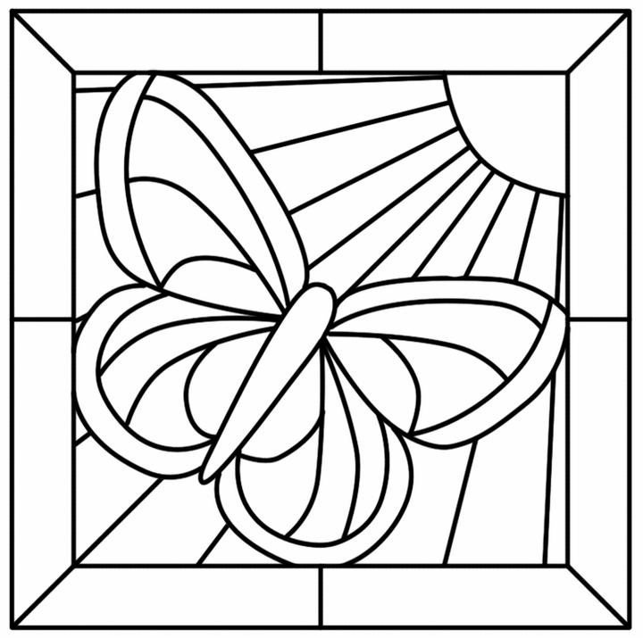 Butterfly Mosaic Coloring Page Online