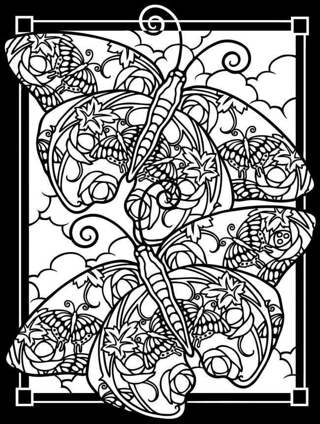 Butterfly Stained Glass Coloring Pages For Adults