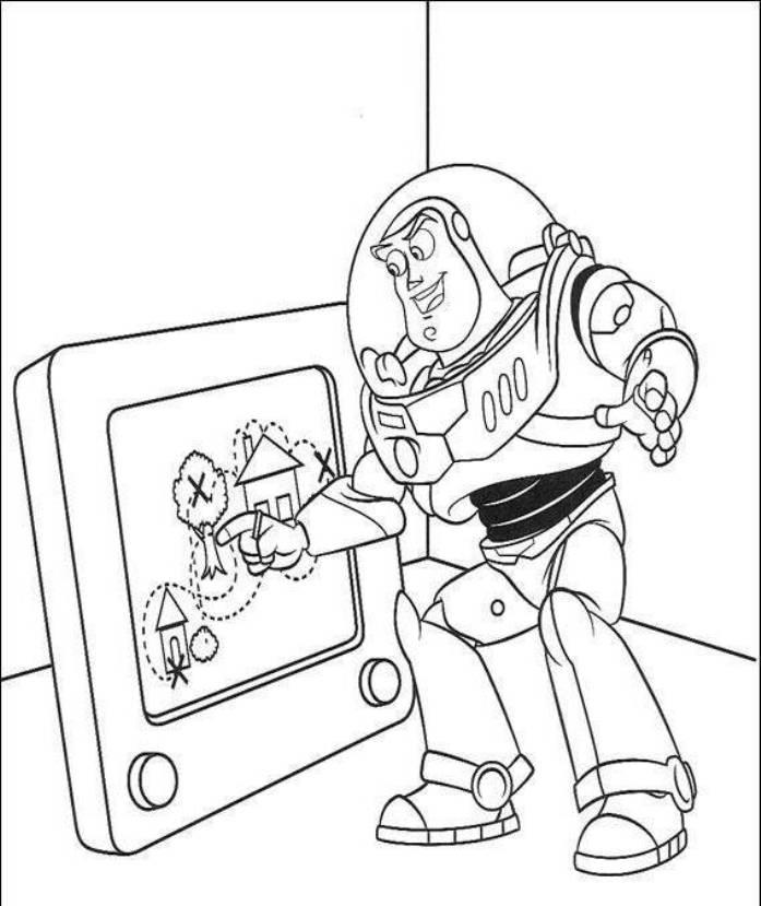 Buzz Are Drawing Toy Story Coloring Pages