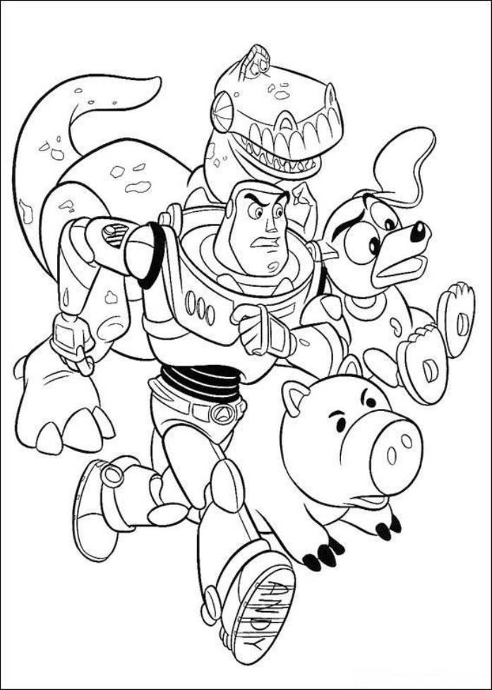 Buzz Hamm Slinky Dog Rez Running Toy Story Coloring Pages