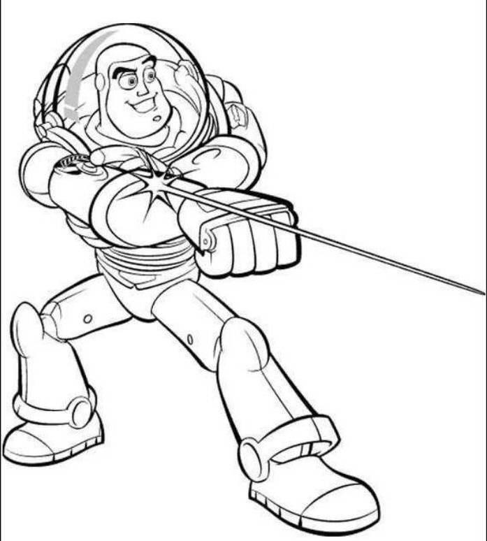Buzz Lightyear Shoots The Light Toy Story Coloring Pages