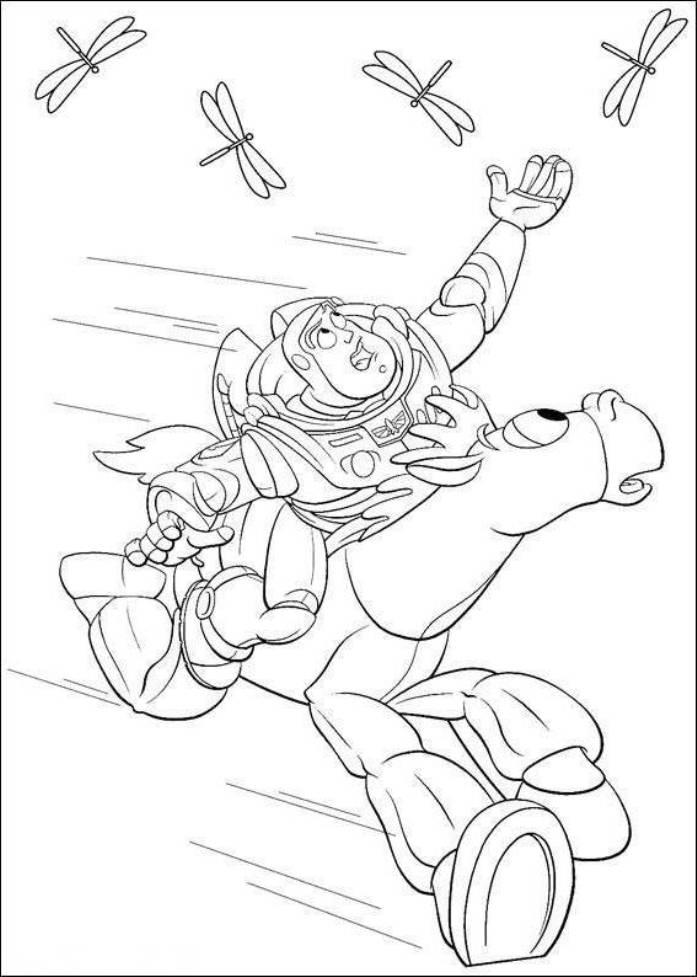 Buzz riding bullseye try to catch the dragonfly toy story 3 coloring pages