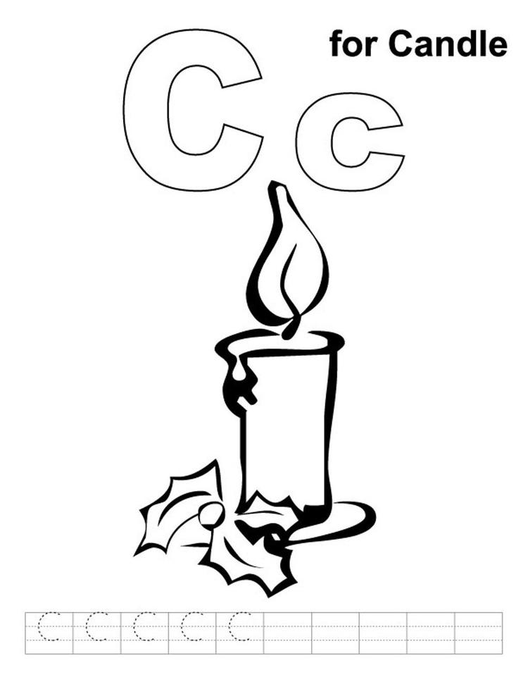 C For Candle Coloring Pages Alphabet