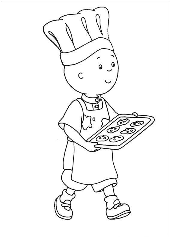 Caillou Coloring Pages Making Cookie