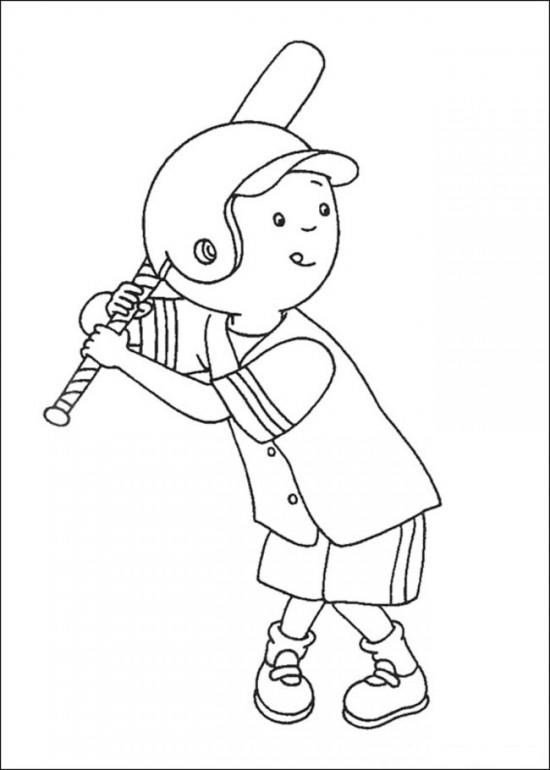 Caillou Coloring Pages Playing Baseball