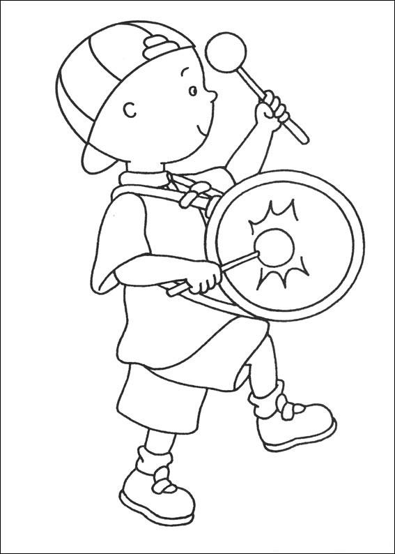 Caillou Coloring Pages Playing Drum