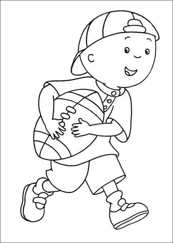 Caillou Coloring Pages Playing Football