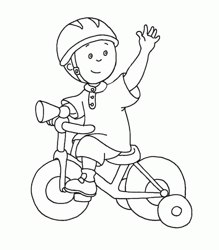 Caillou Coloring Pages Riding Bicycle