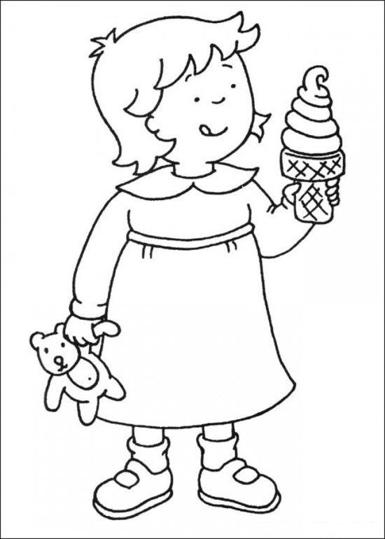 Caillou Coloring Pages Rosie Eating Ice Cream
