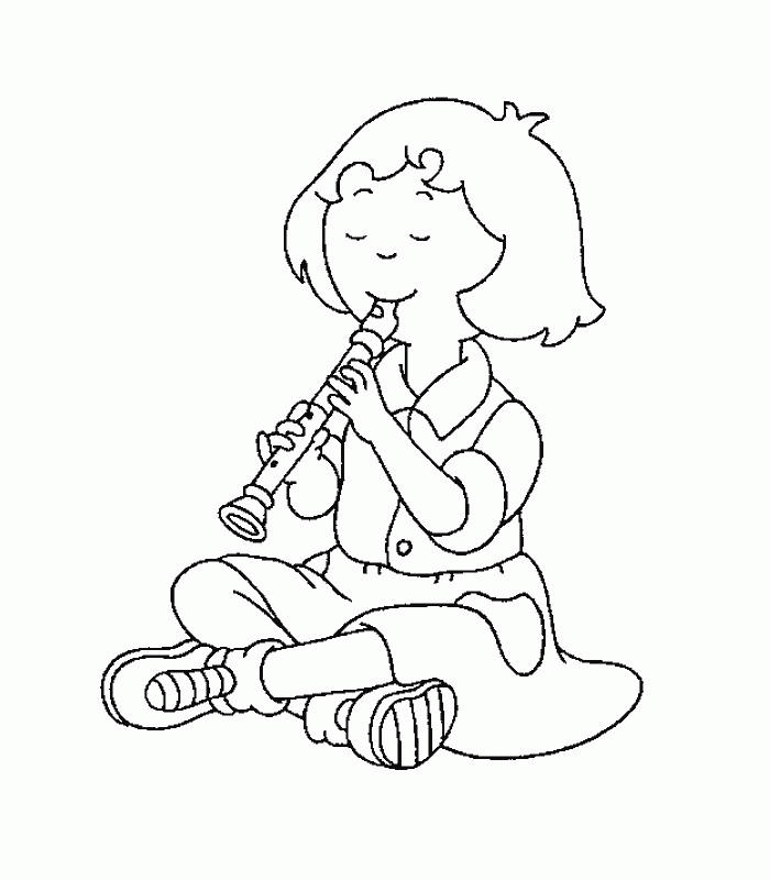Caillou Coloring Pages Sarah Playing A Flute