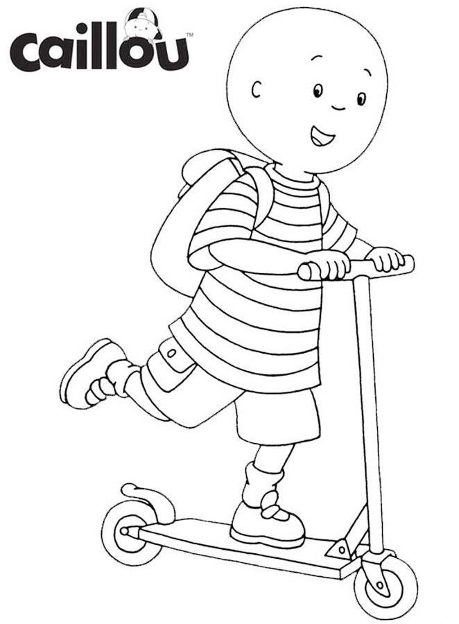 Caillou Riding Scooter Coloring Sheet