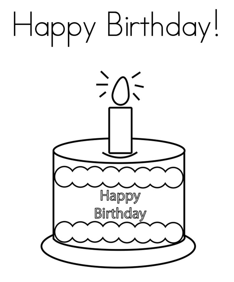 Cake And Candle Happy Birthday Coloring Page