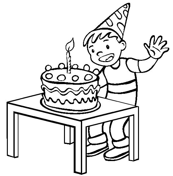 Cake And Happy Birthday Coloring Pages For Boys