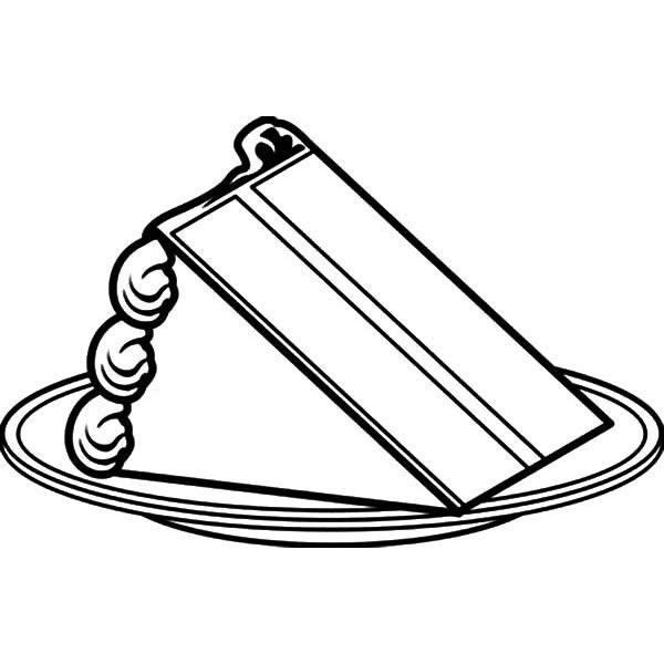 Cake Coloring Pages Slice Cake On Plate