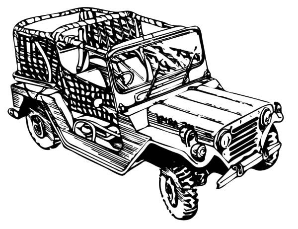 Camouflage Jeep Army Car Coloring Pages
