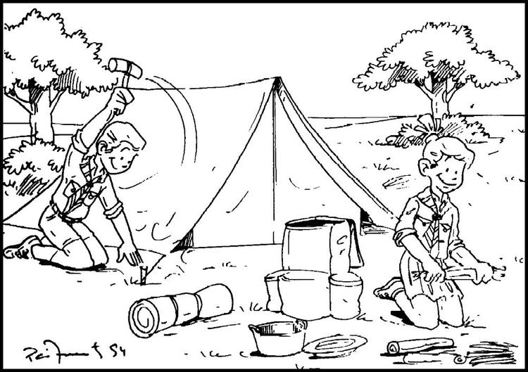 Camping Coloring Pages Boys Scout